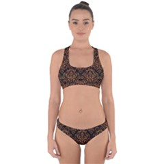 DAMASK1 BLACK MARBLE & RUSTED METAL (R) Cross Back Hipster Bikini Set