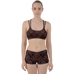 DAMASK1 BLACK MARBLE & RUSTED METAL (R) Women s Sports Set