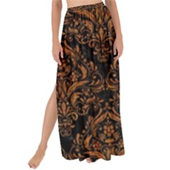DAMASK1 BLACK MARBLE & RUSTED METAL (R) Maxi Chiffon Tie-Up Sarong