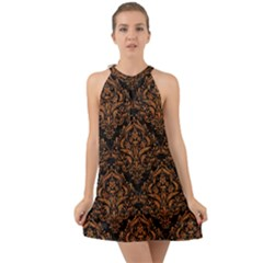 DAMASK1 BLACK MARBLE & RUSTED METAL (R) Halter Tie Back Chiffon Dress