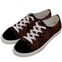 DAMASK1 BLACK MARBLE & RUSTED METAL (R) Women s Low Top Canvas Sneakers