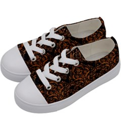 DAMASK1 BLACK MARBLE & RUSTED METAL (R) Kids  Low Top Canvas Sneakers