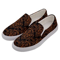 DAMASK1 BLACK MARBLE & RUSTED METAL (R) Men s Canvas Slip Ons