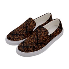 DAMASK1 BLACK MARBLE & RUSTED METAL (R) Women s Canvas Slip Ons