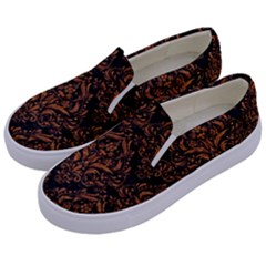 DAMASK1 BLACK MARBLE & RUSTED METAL (R) Kids  Canvas Slip Ons