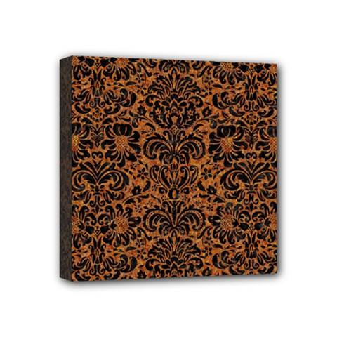 DAMASK2 BLACK MARBLE & RUSTED METAL Mini Canvas 4  x 4