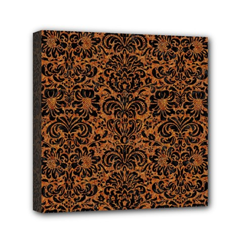 Damask2 Black Marble & Rusted Metal Mini Canvas 6  X 6