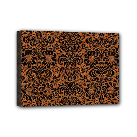 Damask2 Black Marble & Rusted Metal Mini Canvas 7  X 5  by trendistuff