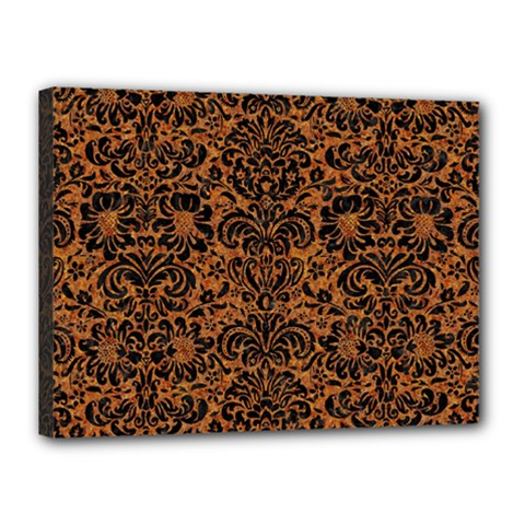 DAMASK2 BLACK MARBLE & RUSTED METAL Canvas 16  x 12