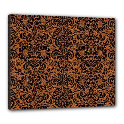 DAMASK2 BLACK MARBLE & RUSTED METAL Canvas 24  x 20