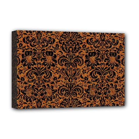 Damask2 Black Marble & Rusted Metal Deluxe Canvas 18  X 12