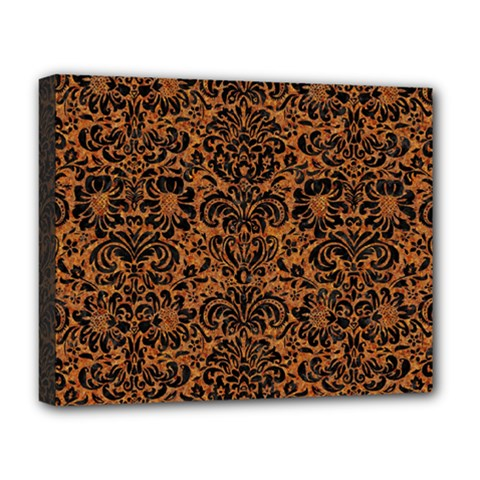 DAMASK2 BLACK MARBLE & RUSTED METAL Deluxe Canvas 20  x 16