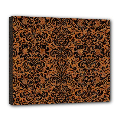 Damask2 Black Marble & Rusted Metal Deluxe Canvas 24  X 20
