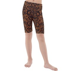DAMASK2 BLACK MARBLE & RUSTED METAL Kids  Mid Length Swim Shorts