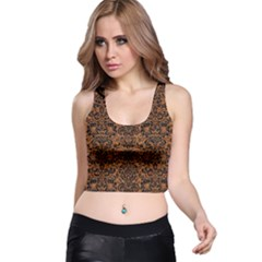 Damask2 Black Marble & Rusted Metal Racer Back Crop Top