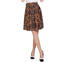 Damask2 Black Marble & Rusted Metal A Line Skirt
