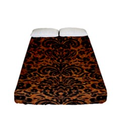 DAMASK2 BLACK MARBLE & RUSTED METAL Fitted Sheet (Full/ Double Size)