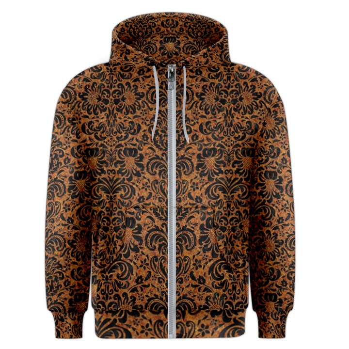 DAMASK2 BLACK MARBLE & RUSTED METAL Men s Zipper Hoodie