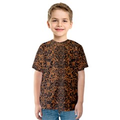 Damask2 Black Marble & Rusted Metal Kids  Sport Mesh Tee