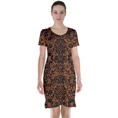 DAMASK2 BLACK MARBLE & RUSTED METAL Short Sleeve Nightdress