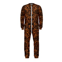 Damask2 Black Marble & Rusted Metal Onepiece Jumpsuit (kids)
