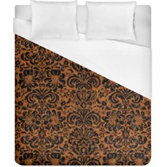 Damask2 Black Marble & Rusted Metal Duvet Cover (california King Size) by trendistuff