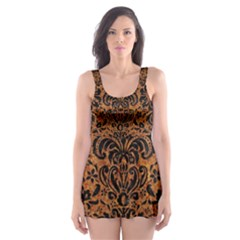Damask2 Black Marble & Rusted Metal Skater Dress Swimsuit by trendistuff