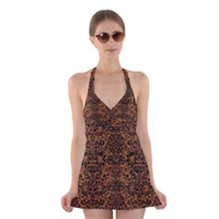 DAMASK2 BLACK MARBLE & RUSTED METAL Halter Dress Swimsuit