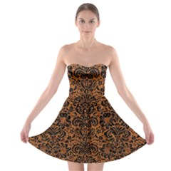 Damask2 Black Marble & Rusted Metal Strapless Bra Top Dress