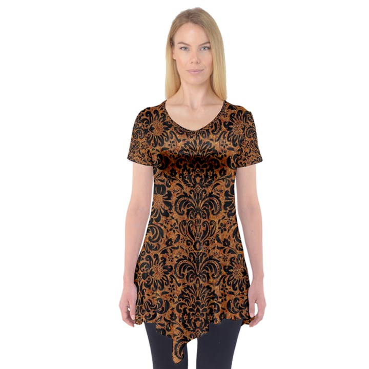 DAMASK2 BLACK MARBLE & RUSTED METAL Short Sleeve Tunic