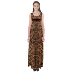 DAMASK2 BLACK MARBLE & RUSTED METAL Empire Waist Maxi Dress
