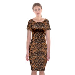 DAMASK2 BLACK MARBLE & RUSTED METAL Classic Short Sleeve Midi Dress