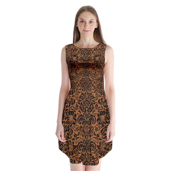 DAMASK2 BLACK MARBLE & RUSTED METAL Sleeveless Chiffon Dress