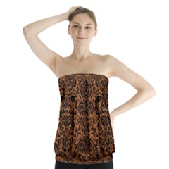 DAMASK2 BLACK MARBLE & RUSTED METAL Strapless Top