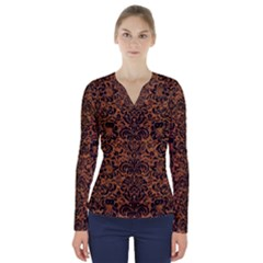 DAMASK2 BLACK MARBLE & RUSTED METAL V-Neck Long Sleeve Top