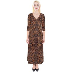 DAMASK2 BLACK MARBLE & RUSTED METAL Quarter Sleeve Wrap Maxi Dress