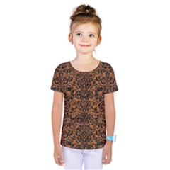 Damask2 Black Marble & Rusted Metal Kids  One Piece Tee by trendistuff