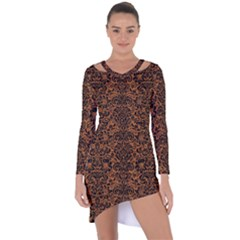 DAMASK2 BLACK MARBLE & RUSTED METAL Asymmetric Cut-Out Shift Dress