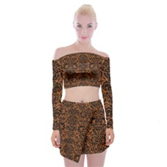 DAMASK2 BLACK MARBLE & RUSTED METAL Off Shoulder Top with Mini Skirt Set