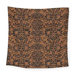 Damask2 Black Marble & Rusted Metal Square Tapestry (large)