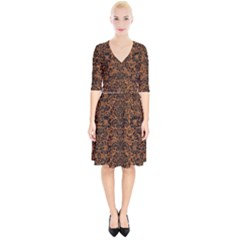 Damask2 Black Marble & Rusted Metal Wrap Up Cocktail Dress