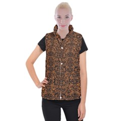 DAMASK2 BLACK MARBLE & RUSTED METAL Women s Button Up Puffer Vest