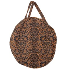 DAMASK2 BLACK MARBLE & RUSTED METAL Giant Round Zipper Tote