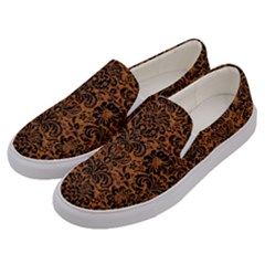 DAMASK2 BLACK MARBLE & RUSTED METAL Men s Canvas Slip Ons