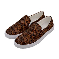 Damask2 Black Marble & Rusted Metal Women s Canvas Slip Ons by trendistuff