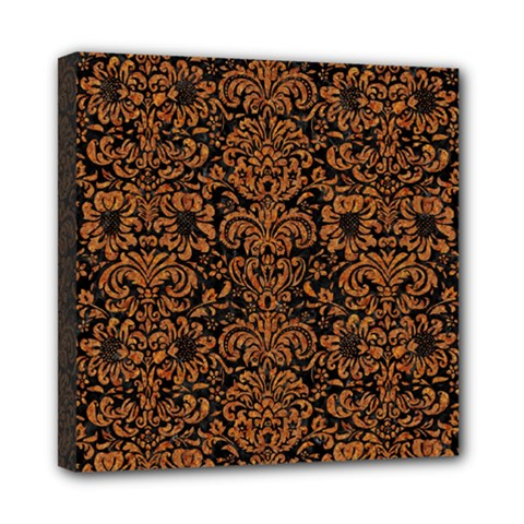 Damask2 Black Marble & Rusted Metal (r) Mini Canvas 8  X 8  by trendistuff