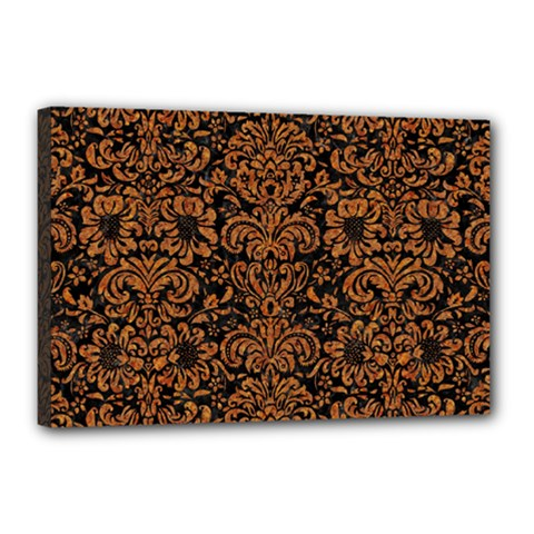 Damask2 Black Marble & Rusted Metal (r) Canvas 18  X 12  by trendistuff