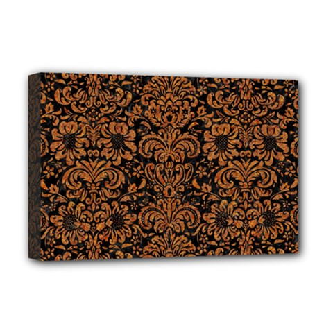 Damask2 Black Marble & Rusted Metal (r) Deluxe Canvas 18  X 12   by trendistuff