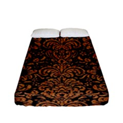Damask2 Black Marble & Rusted Metal (r) Fitted Sheet (full/ Double Size)