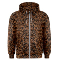 Damask2 Black Marble & Rusted Metal (r) Men s Zipper Hoodie